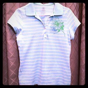 IZOD Tropical Flowers Striped Polo Shirt